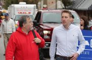 Warrensburg Daily Star Journal Editor Jack Miles spoke with Jason Kander (D) as he walked in the parade.