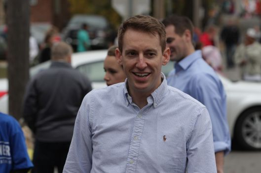 Secretary of State and 2016 U.S. Senate candidate Jason Kander (D) at the University of Central Missouri Homecoming Parade, in Warrensburg - October 24, 2015
