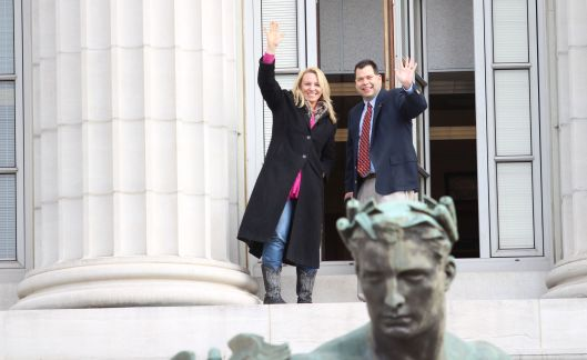 Representative Mike Kelley (r) (right) on a capitol window ledge [January 2015 file photo].