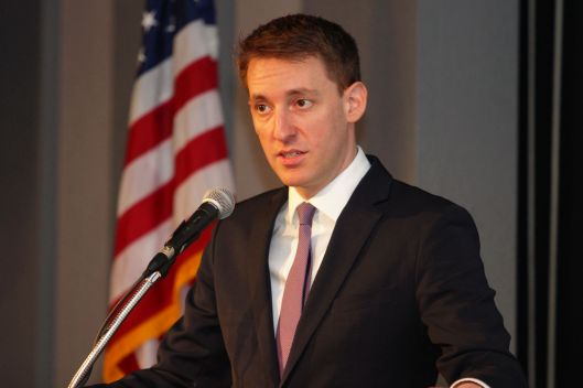 Secretary of State and U.S. Senate candidate Jason Kander (D) speaking at the Johnson County Democratic Committee Kirkpatrick dinner in Warrensburg – March 28, 2015.