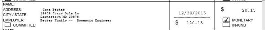 From John Brunner's (r) quarterly campaign finance report filed with the Missouri Ethics Commission on January 15, 206.