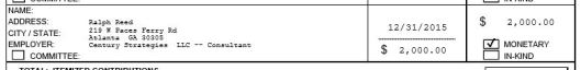 Contribution reported on Eric Greitens' (r) quarterly campaign finance report filed with the Missouri Ethics Commission on January 15, 2016.