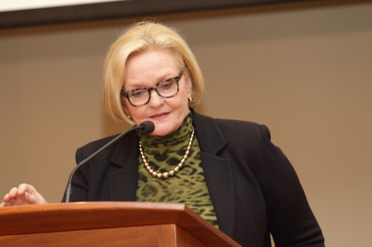 Senator Claire McCaskill (D), speaking at the Jackson County Democratic Committee's Truman Gala in Kansas City - May 21, 2016.