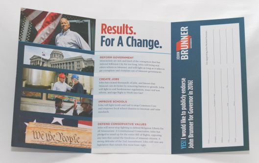 John Brunner (r) campaign literature. Interestingly, there's no union bug.