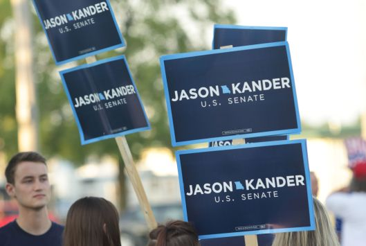 Everywhere, signs. For Jason Kander (D) at the Missouri State Fair Governor's Ham Breakfast - August 18, 2016.