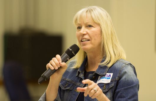 Teresa Hensley, the Democratic Party nominee for Attorney General, speaking in at an event in Odessa, Missouri sponsored by Laborers' Local 663 - September 10, 2016.