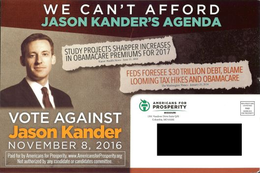 "The ""A"" side of an Americans for Prosperity funded mail piece attacking Jason Kander (D)."
