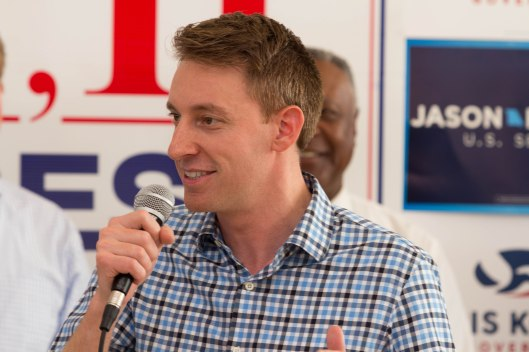 Secretary of State Jason Kander (D), the party's nominee for the United States Senate, speaking at a GOTV kickoff rally in Kansas City – October 29, 2016.