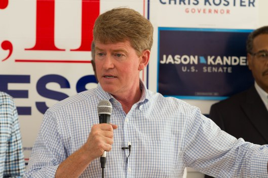 Attorney General Chris Koster (D), the party's nominee for Governor, speaking at a GOTV kickoff rally in Kansas City – October 29, 2016.