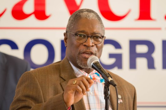 Kansas City Mayor Sly James (D), speaking at a GOTV kickoff rally in Kansas City – October 29, 2016.