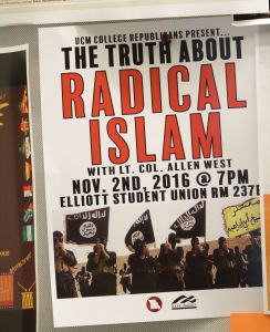 A flyer posted on campus advertising a speech by Allen West (r) at the University of Central Missouri, sponsored by the UCM College Republicans -   November 2, 2016.
