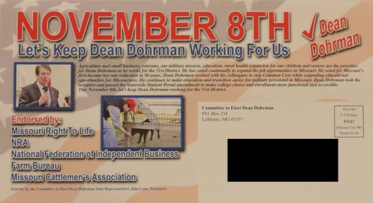 A mailer (address side) from Dean Dohrman (r) - November 5, 2016.