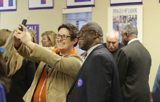 Taking a selfie with Kansas City Mayor Sly James at the opening of Hillary Clinton's campaign headquarters in Kansas City - February 17, 2016.