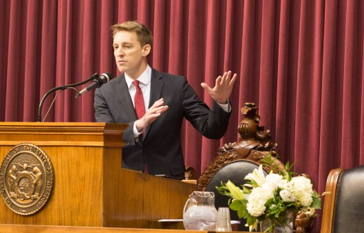 Secretary of State Jason Kander (D) addressing the Missouri House at the opening of the legislative session - Jefferson City - January 4, 2017.