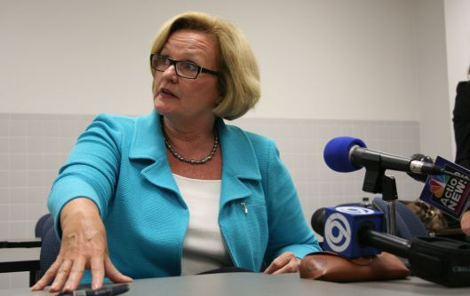 Senator Claire McCaskill (D) - speaking with the press in Kansas City after a town hall -  August 24, 2009.