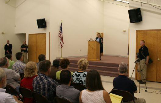 Senator Claire McCaskill (D) - speaking at a town hall in Warrensburg, Missouri - August 26, 2009.