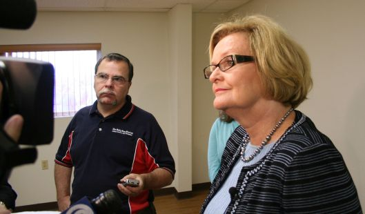 Senator Claire McCaskill (D) - speaking with the press in Warrensburg after a town hall -  August 26, 2009.