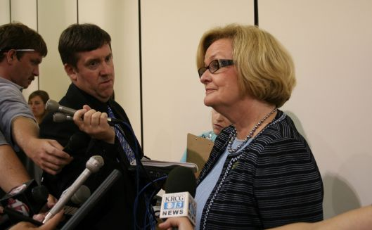 Senator Claire McCaskill (D) - speaking with the press in Jefferson City after a town hall -  August 26, 2009.