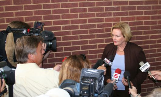 Senator Claire McCaskill (D) - speaking with the press in Hillsboro after a town hall -  August 11, 2009.